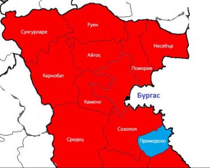 Kartata Na Burgaska Oblast Sled Balotazha Primorsko Edinstveniyat
